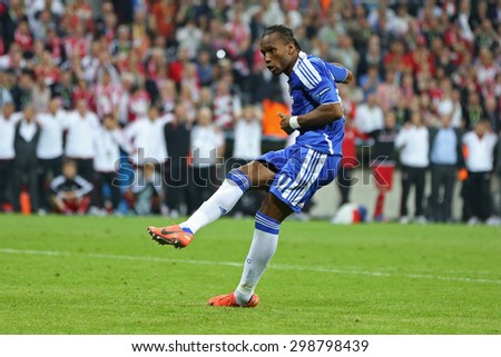 MUNICH, GERMANY May 19 2012.Chelsea's Ivory Coast forward Didier Drogba scores the winning penalty at the 2012 UEFA Champions League Final at the Allianz Arena Munichh - stock photo