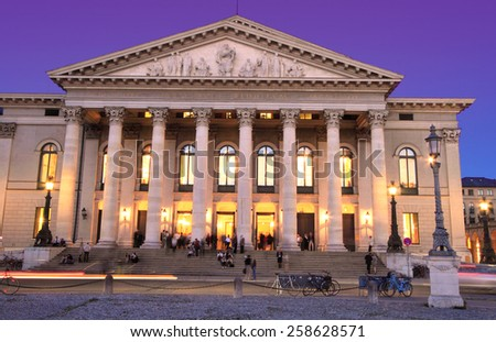 MUNICH,GERMANY- MAY 18, 2011: National Theater (Opera) of Munich at twilight on May 18, 2011 in Munich, Germany. It is the former royal opera house of the Bavarian monarchs in Munich city center. - stock photo