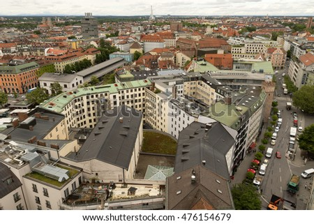Munich, Germany- May 31, 2016: Rooftop view of Munich. Munich, Bavariaâ??s capital, is home to centuries-old buildings and numerous museums.