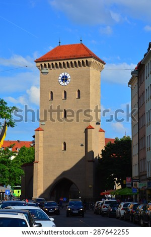MUNICH, GERMANY - 29 May 2015 : The Isartor  is one of four main gates of the medieval city wall. It served as a fortification for the defense and is the most easterly of Munich's remaining gates