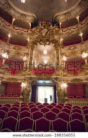MUNICH,GERMANY- OCT 18: Baroque opera house of Munich Palace (Residenz), on Oct 18, 2013 in Munich, Germany. It is the former royal opera house of the Bavarian monarchs in Munich city center.