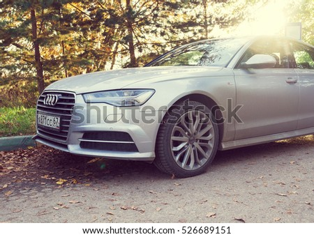 MUNICH, GERMANY - OCTOBER 01, 2016: Audi A6 parked on a street of Munich, suburb. Audi is among the best-selling luxury automobiles in the world.