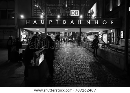 MUNICH, GERMANY - OCTOBER 15, 2017: Evening view from outside Munich Hauptbahnhof (main station) in Munich city, Germany
