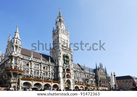 MUNICH, GERMANY - OCTOBER 4: Marienplatz in Munich on October 4, 2011. It has been the city's main square since 1158. Munich is the biggest city of Bavaria with almost 100 million visitors a year.