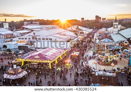 MUNICH, GERMANY - OCTOBER 4: View over the Oktoberfest in Munich, Germany on October 4, 2015. The Oktoberfest is the biggest beer festival of the world