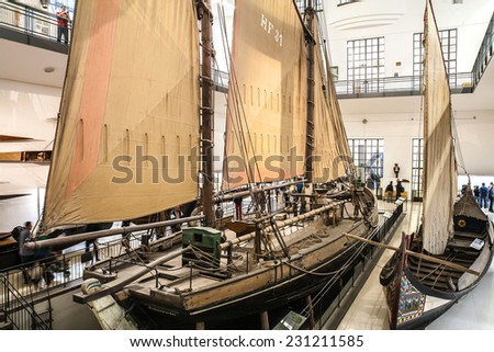 MUNICH, GERMANY - SEPTEMBER 12, 2014:Old boat in German Museum (Das Deutsche museum), the world's largest museum of science and technology, in Munich, Bavaria, Germany, September 12, 2014. - stock photo