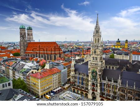 Munich, Germany skyline at City Hall. - stock photo