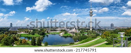Munich, Germany - TV Tower in Munich's Olympic Park - stock photo