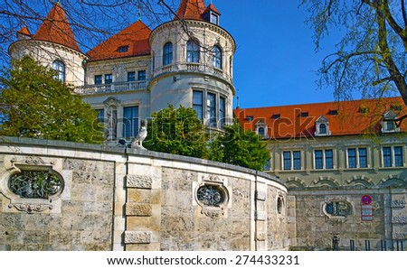 Munich Germany, view of Bavarian National Museum, detail of the stone wall and architectural building style - stock photo
