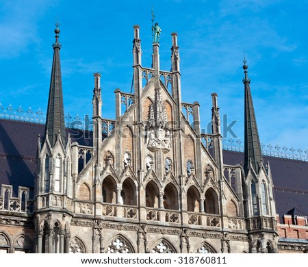 Munich, Gothic City Hall Facade Details, Bavaria, Germany - stock photo