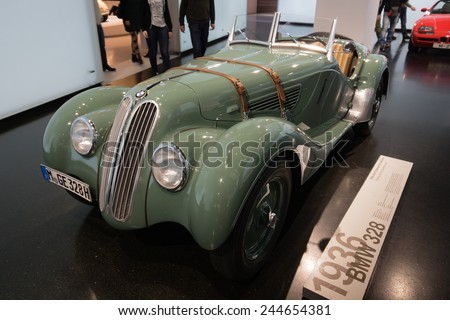 MUNICH - JANUARY 05: Old BMW 1935 on stand display in BMW Museum on January 05, 2015 in Munich, Bavaria, Germany. - stock photo