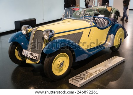 MUNICH - JANUARY 05: Old BMW 1934 on stand display in BMW Museum on January 05, 2015 in Munich, Bavaria, Germany. - stock photo