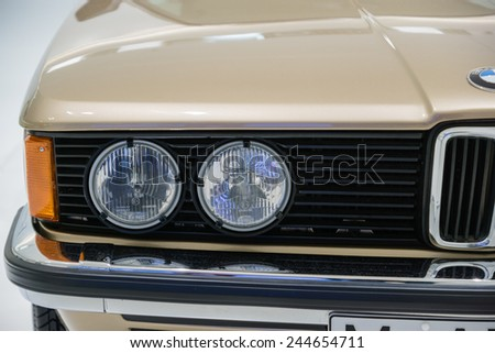 MUNICH - JANUARY 05: Part of old 3rd series BMW car on stand display in BMW Museum on January 05, 2015 in Munich, Bavaria, Germany. - stock photo