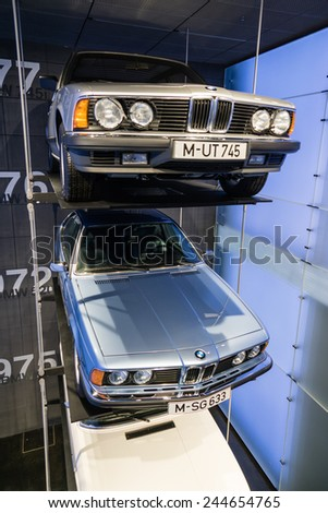 MUNICH - JANUARY 05: Several BMW's of 1970's on stand display in BMW Museum on January 05, 2015 in Munich, Bavaria, Germany. - stock photo