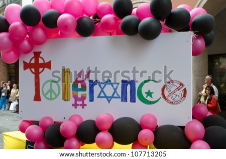 MUNICH - JULY 14: Parade float at the Christopher Street Day (Gay Pride) in Munich on July 14, 2012. - stock photo
