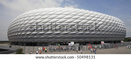 MUNICH - JUNE 9:  Exterior view of Allianz Arena prior to a World Cup soccer match between Germany and Costa Rica June 9, 2006 in Munich, Germany. - stock photo