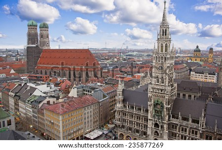 MUNICH - MARCH 15: Panorama view of Munich city center showing the City Hall and the Frauenkirche, on March 15, 2014. Munich is the capital of Bavaria, Germany. - stock photo