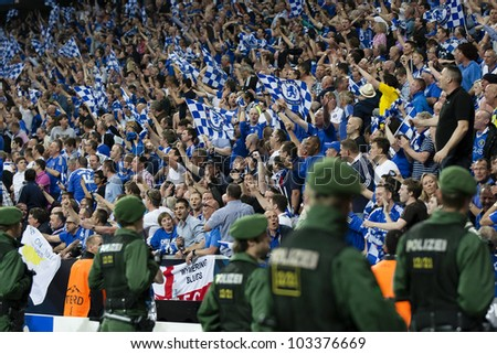 MUNICH-MAY 19 :Celebration of Chelsea's win: Supporters of the Blues after FC Bayern Munich vs. Chelsea FC UEFA Champions League Final game at Allianz Arena on May 19, 2012 in Munich, Germany. - stock photo