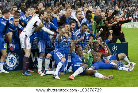 MUNICH-MAY 19 :Celebration of Chelsea's win: the complete team of the Blues after FC Bayern Munich vs. Chelsea FC UEFA Champions League Final game at Allianz Arena on May 19, 2012 in Munich, Germany - stock photo