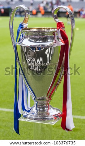MUNICH-MAY 19 :The Champions League Cup before FC Bayern Munich vs. Chelsea FC UEFA Champions League Final game at Allianz Arena on May 19, 2012 in Munich, Germany. - stock photo