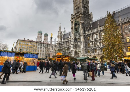 MUNICH - NOV 30: Christmas Market at Marienplatz   on November 30, 2015 in Munich, Germany - stock photo