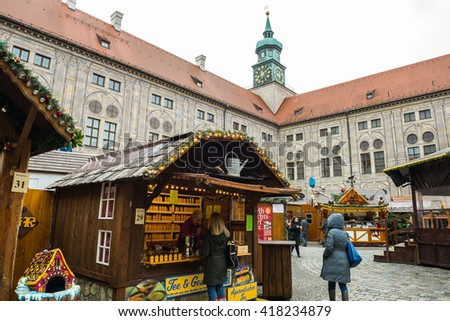 MUNICH - NOV 30: Christmas Market at Munich Residence on November 30, 2015 in Munich, Germany - stock photo