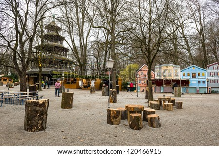 MUNICH - NOV 30: Christmas Market of Chinese Tower on November 3, 2015 in Munich, Germany  - stock photo
