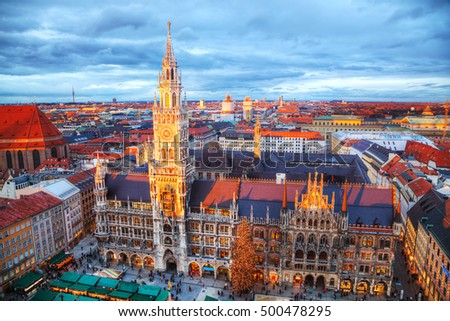 MUNICH - NOVEMBER 30: Aerial view of Marienplatz on November 30, 2015 in Munich. It's the 3rd largest city in Germany, after Berlin and Hamburg, with a population of around 1.5 million.