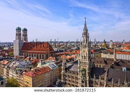 Munich panoramic view old town architecture, Bavaria, Germany. Frauenkirche and town hall on Marienplatz - stock photo