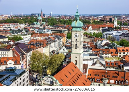 Munich scenic aerial panorama of the Old Town architecture, Bavaria, Germany - stock photo