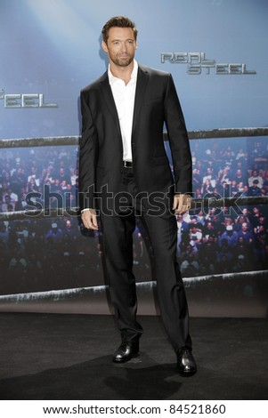 MUNICH - SEPT 12: Hugh Jackman at the Real Steel photocall at Hotel Bayerischer Hof on September 12, 2011 in Munich, Germany - stock photo