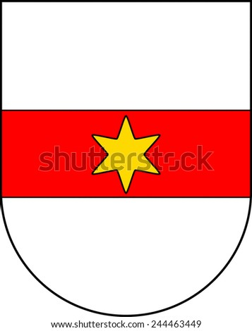 Municipal coat of arms of the city Bolzano en in the South Tyrol. - stock photo
