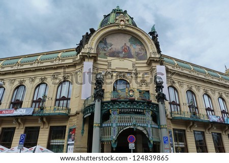 Municipal House facade, Prague, Czech Republic - stock photo