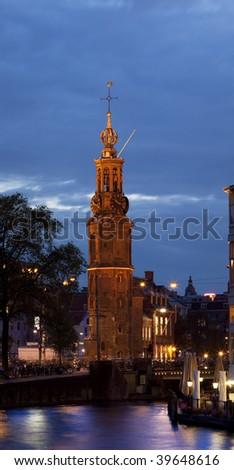 Munttoren, Amsterdam, the Netherlands - stock photo