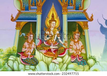 Mural Buddhist art in Thai temple, Thailand - stock photo