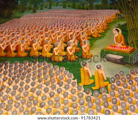 Mural Buddhist religion in the temple. - stock photo