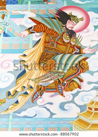 Mural Chinese temple in Thailand, which opened to the public to visit and photograph. - stock photo