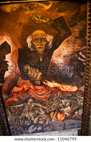 Mural Miguel Hidalgo Costilla, leader Mexican Independence, Walking up stairs Government Palace, Guadalajara, Mexico.  Mural by Clemente Orozco, finished in 1939 or early 1940s.  He died in 1949. - stock photo