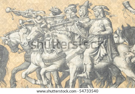 mural of princes riding on a hunting party - stock photo