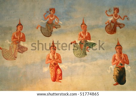 Mural, Painting, Thailand - stock photo