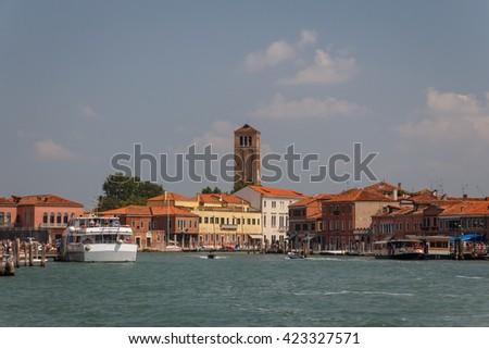 MURANO / ITALY - JULY 2013: Panorama of Murano island in Veneto lagoon, Italy - stock photo