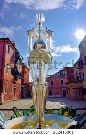 MURANO - SEP 22, 2014: Modern installation of Murano glass - Vitae, design by Denise Gemin. Murano island, Venice. Landmark of Veneto region, Italy - stock photo