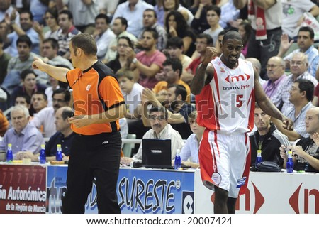 Murcia, Spain - October 10: Taquan Dean celebrates a basket in the game against Regal FC Barcelona at Palacio de los Deportes on October 10, 2008 in Murcia, Spain