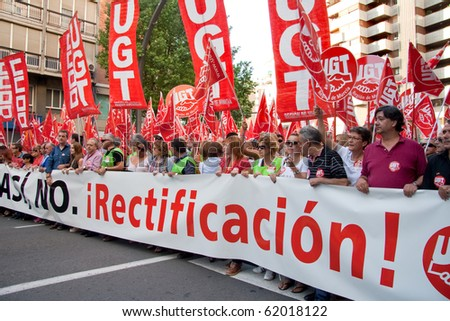 MURCIA, SPAIN - SEPTEMBER 29: People in the streets in a general strike against the crisis in Spain, 29th September 2010, Murcia, Spain. - stock photo