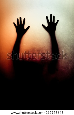 Murder behind a glass door - stock photo