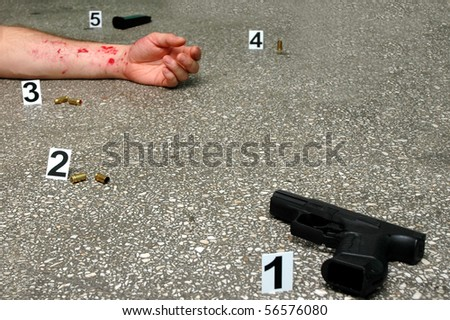 Murder -place of shooting - stock photo
