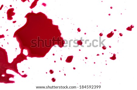 Murder. Red blood on white background - stock photo