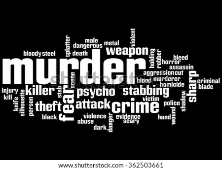 Murder, word cloud concept on black background.