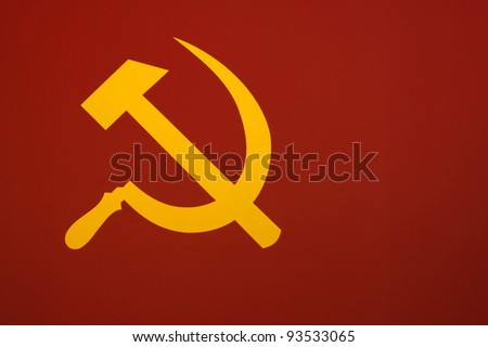 """Murky version of the Soviet flag """"The hammer and sickle"""". - stock photo"""