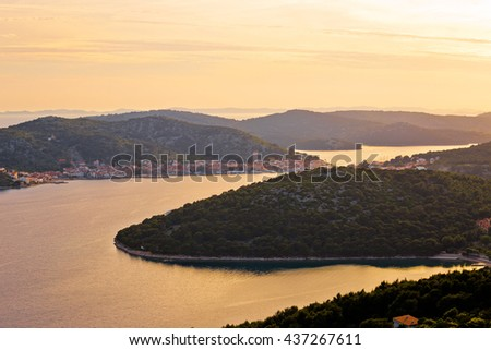 Murter island archipelago sunset view, Dalmatia, Croatia - stock photo